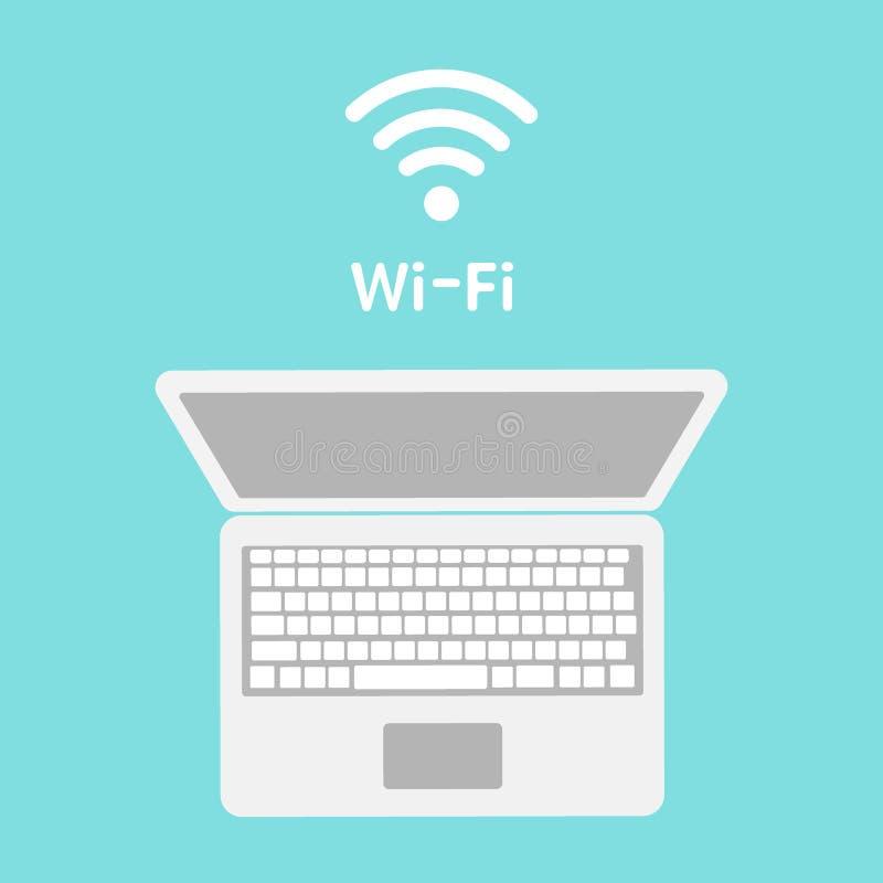 WiFi-pictogram op laptop het scherm Draadloze technologie, wifiverbinding, draadloos netwerk, hotspot concepten Moderne vlakte vector illustratie