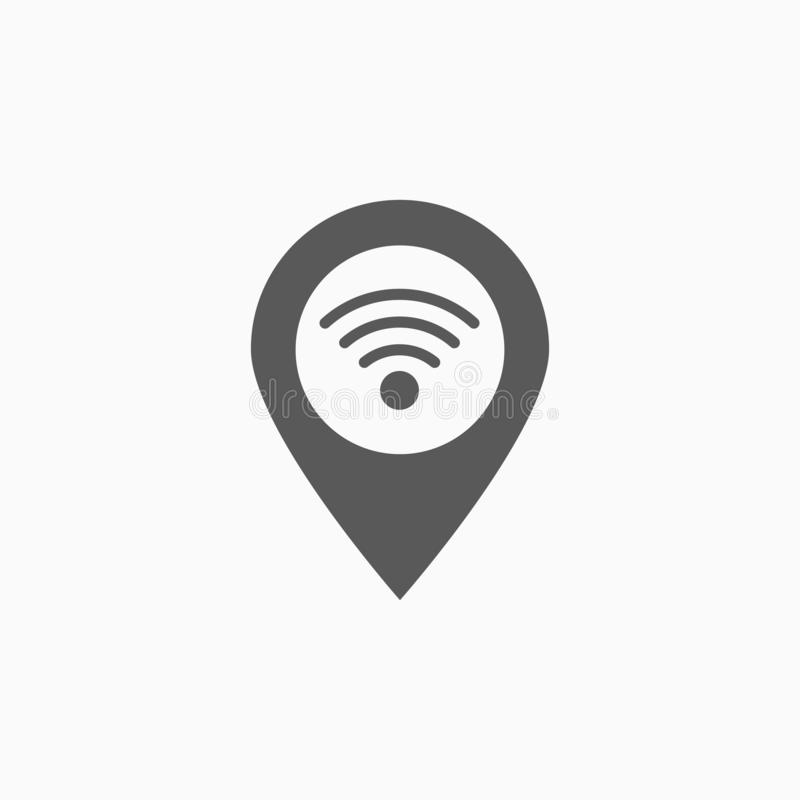 Wifi pin icon, internet, location, network royalty free illustration