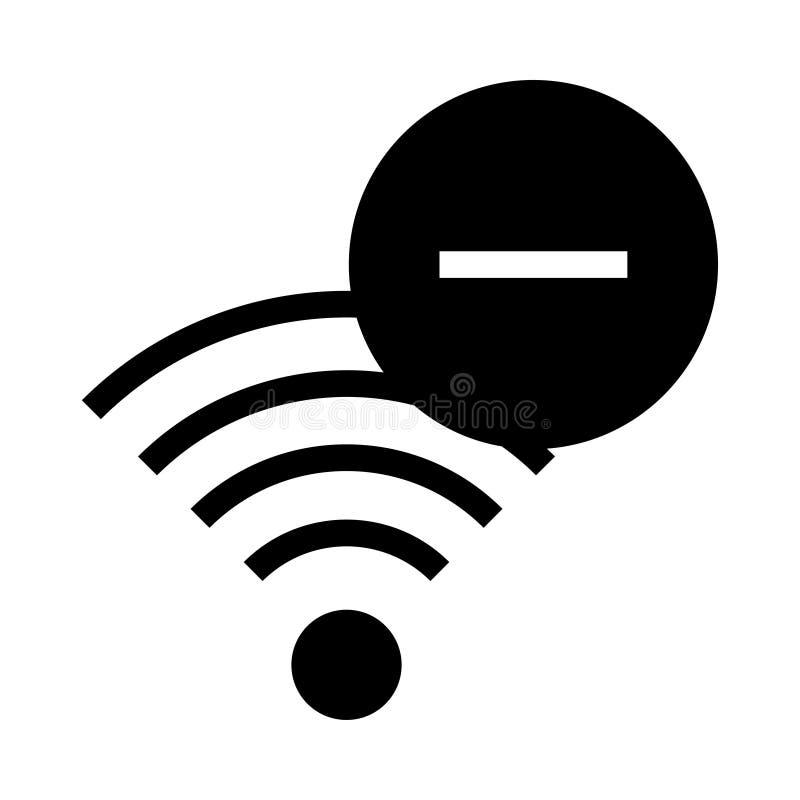 Wifi quita el icono de los glyphs stock de ilustración