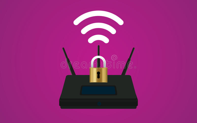 Wifi router security illustration with padlock and signal symbol stock illustration