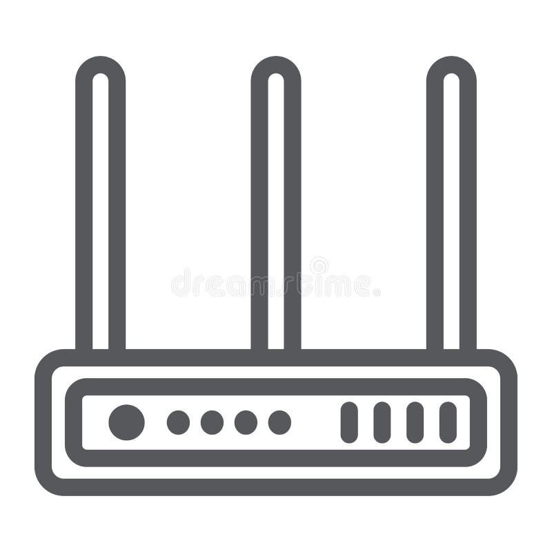 Wifi routeru linii ikona, sieć i związek, interneta znak, wektorowe grafika, liniowy wzór na białym tle ilustracji