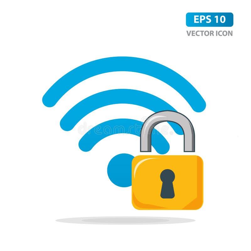 Wifi schloss die Zeichenikone zu, die auf wei?em Hintergrund lokalisiert wurde Passwort-Wi-Fisymbol Ikone des drahtlosen Netzwerk stock abbildung