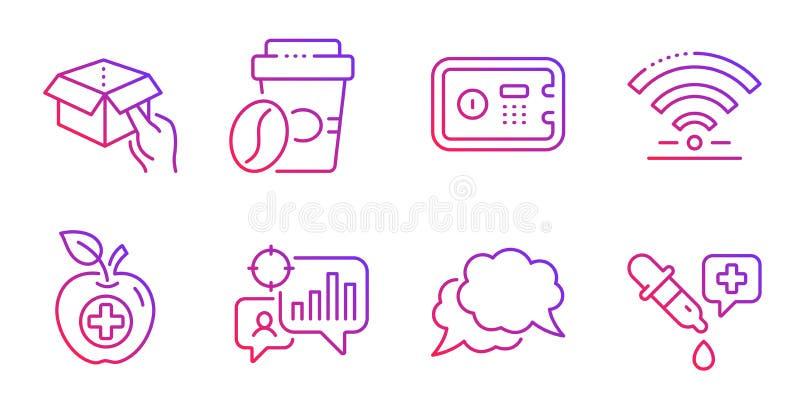 Wifi, Seo statistics e Medical food conjunto Caixa de espera, mensagem de bate-papo e placas de café para fora Vetor ilustração do vetor