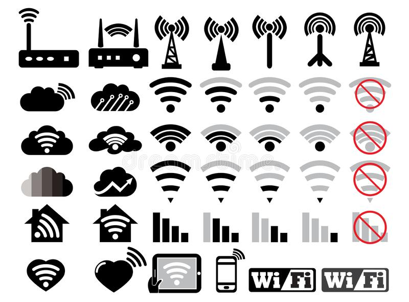 Wifi set icons network related vector inline style with editable stroke logo design illustration on white background royalty free illustration