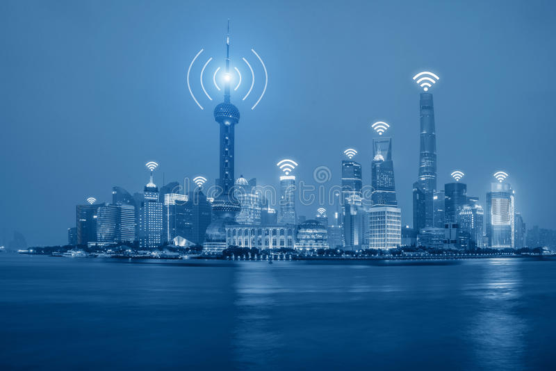 Wifi sieci związek w Szanghaj centrum dzielnicie biznesu obraz royalty free