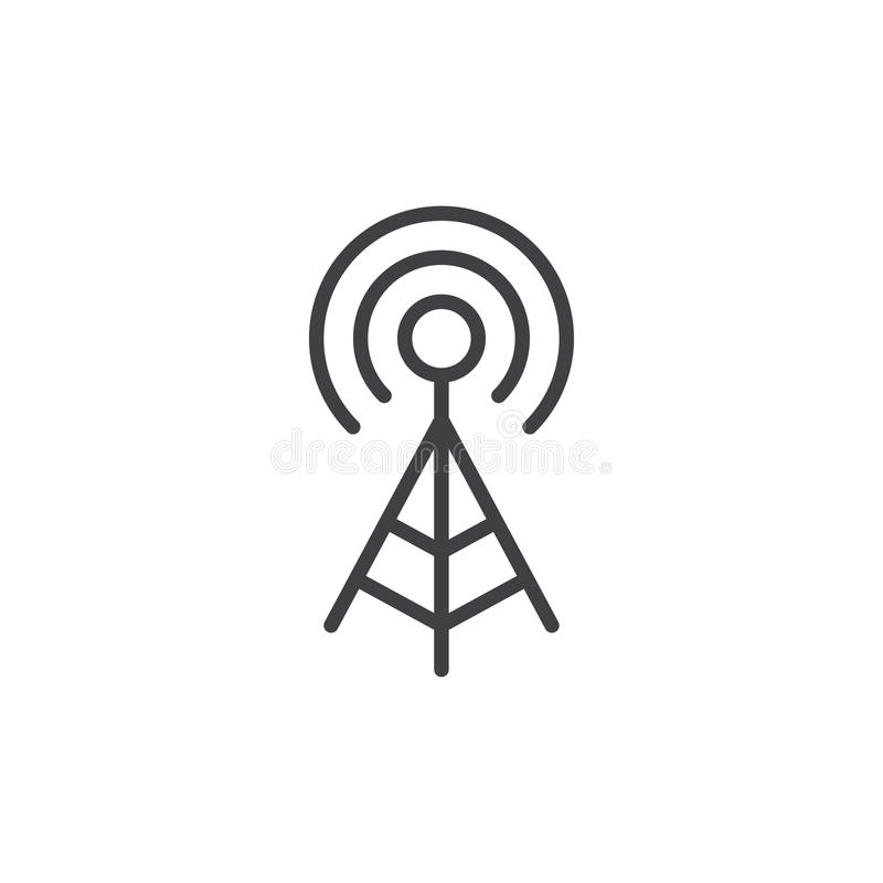 WIFI signal antenna line icon, outline vector sign, linear style pictogram isolated on white. vector illustration
