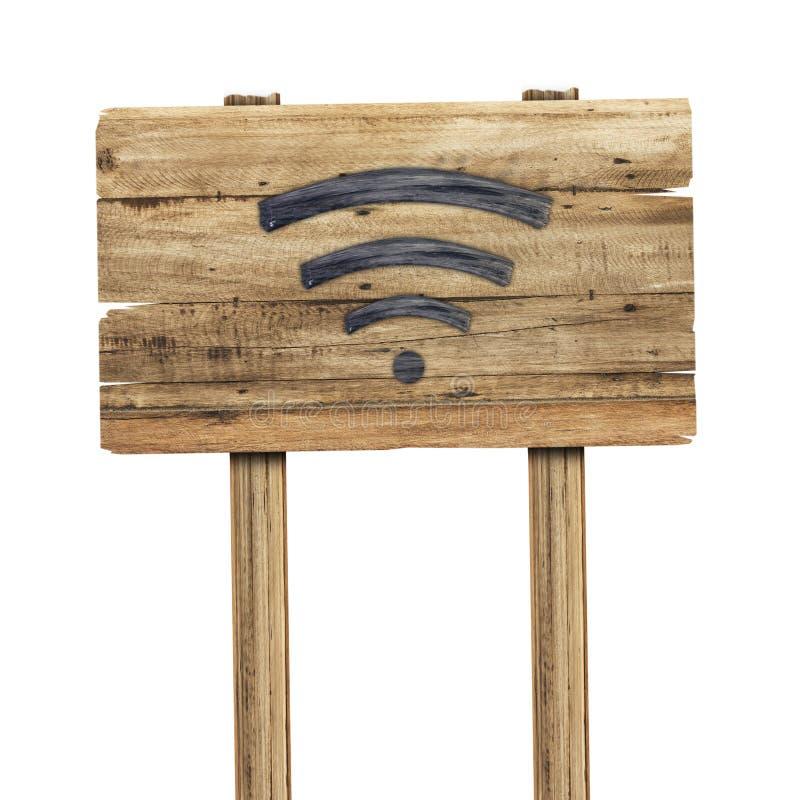 Wifi-Signal wird vom Holz auf dem Holzschild gemacht, das auf Weiß isoleted ist stockbild