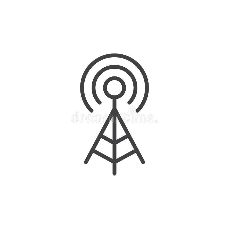 WIFI-Signalantennenlinie Ikone, Entwurfsvektorzeichen, lineares Artpiktogramm lokalisiert auf Weiß vektor abbildung