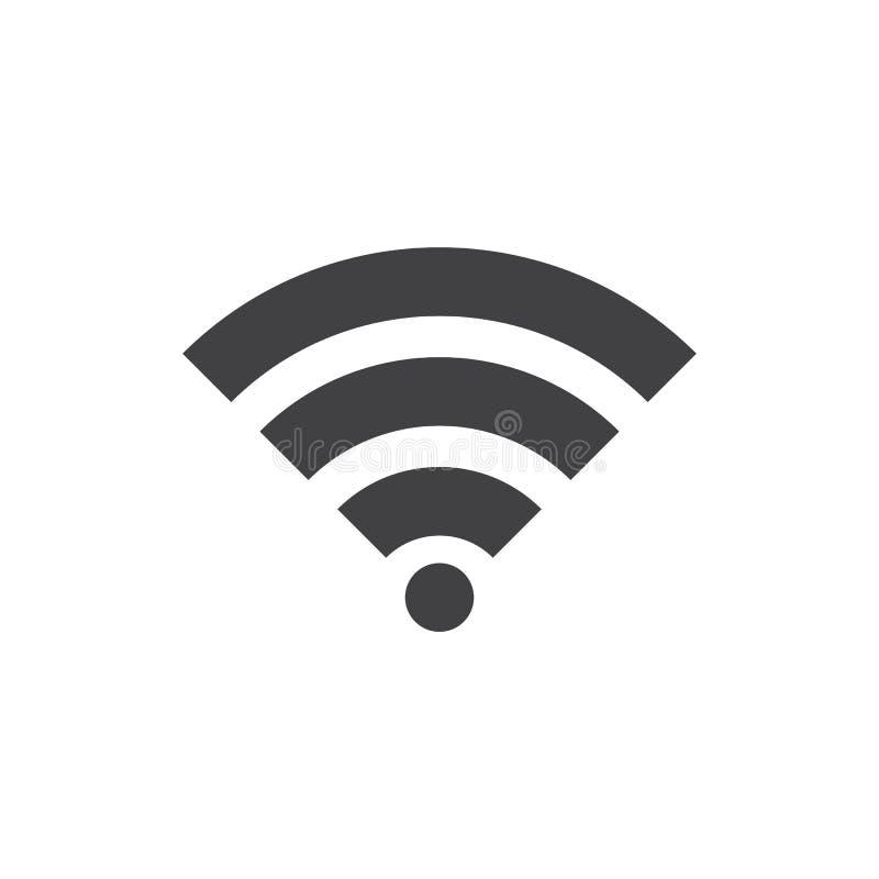 WIFI signalsymbol, fast logoillustratio för trådlöst nätverk stock illustrationer