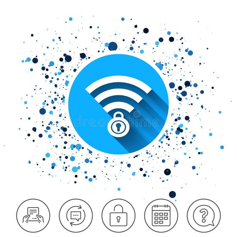 Wifi sloot teken Het symbool van paswifi draadloos stock illustratie
