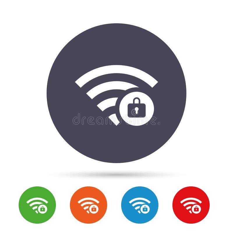 Wifi sloot teken Het symbool van paswifi draadloos royalty-vrije illustratie