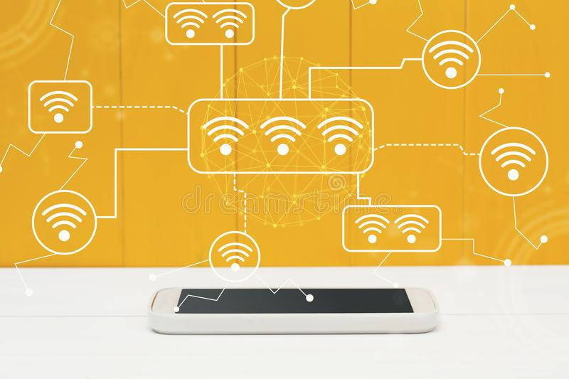 WiFi with smartphone. On yellow wooden background royalty free illustration