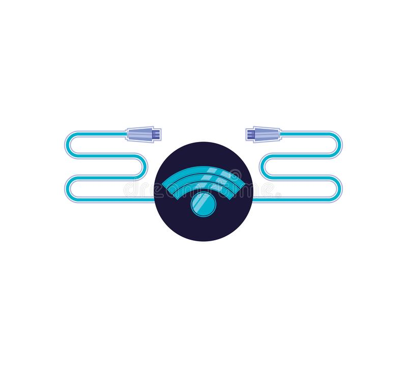 Wifi sygnał z usb kablem royalty ilustracja