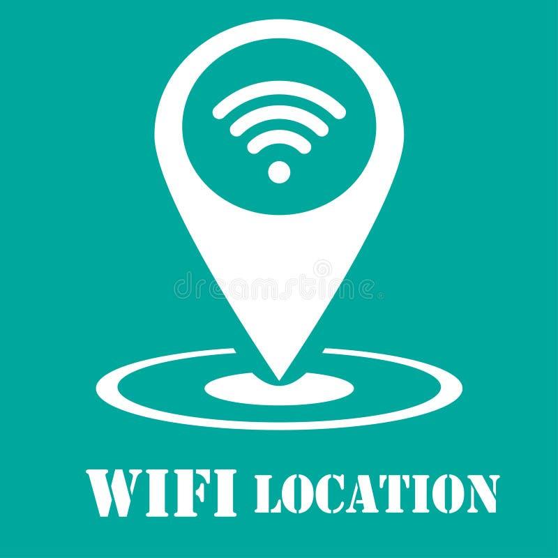 Wifi symbol - abstrakt logotypsymbol - vit symbol i översiktsstift stock illustrationer