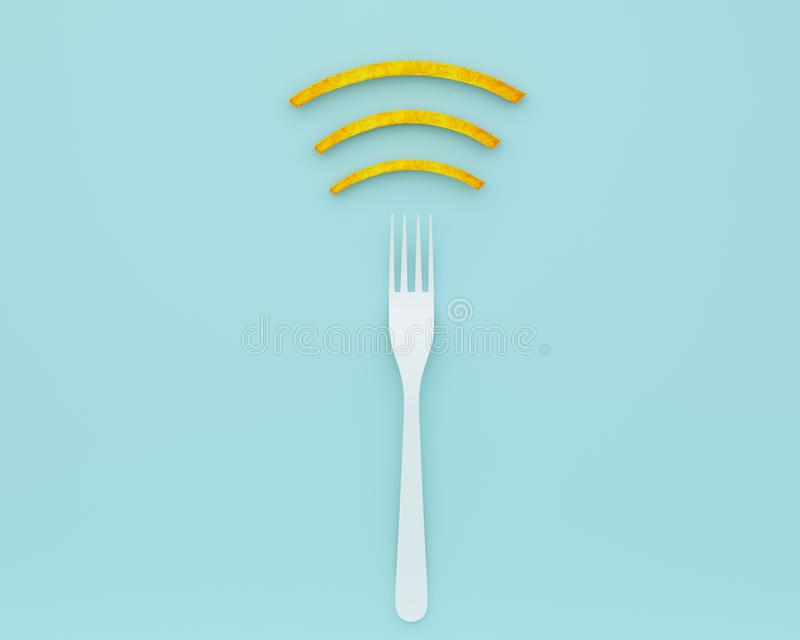 Wifi symbol creative idea layout made of fork with french fries on blue color background. minimal food idea and Internet technolog. Y /networking concept stock photography