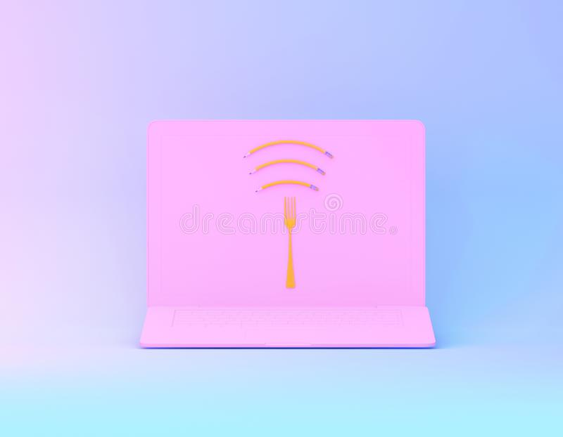 Wifi symbol creative idea layout made of fork with pencil on pink laptop in vibrant bold gradient purple and blue holographic. Colors. minimal surrealism art stock image