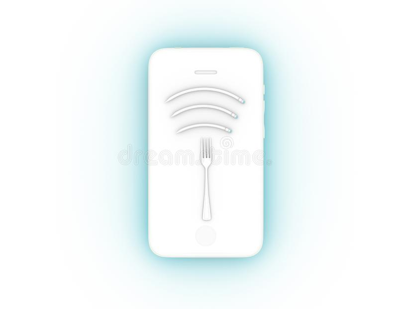 Wifi symbol creative idea layout made of fork with pencil on smartphone. minimal surrealism art and Internet technology /. Networking concept vector illustration