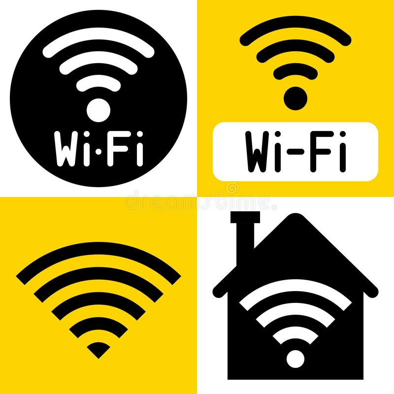 WiFi symbol icon, wireless local area networking vector. Illustration royalty free illustration