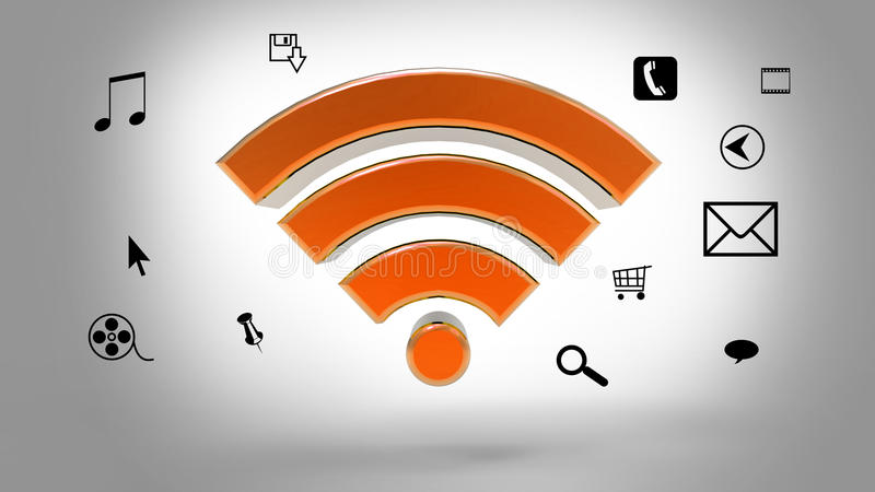 Download Wifi symbol stock illustration. Image of button, wave - 41431073