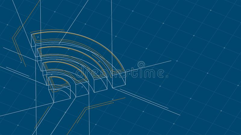 Wifi symbol isometric symbol dot and dash line frame structure pattern wireframe, Internet connect concept illustration isolated. On blue background with space vector illustration