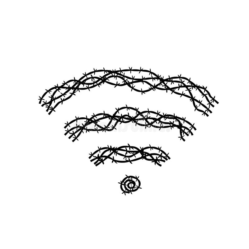Wifi Symbol Made From Barbed Wire Concept Idea Illustration Black ...
