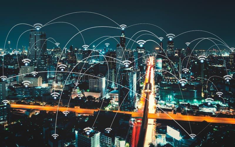 Wifi symbol och stadsscape- och nätverksanslutning royaltyfri foto