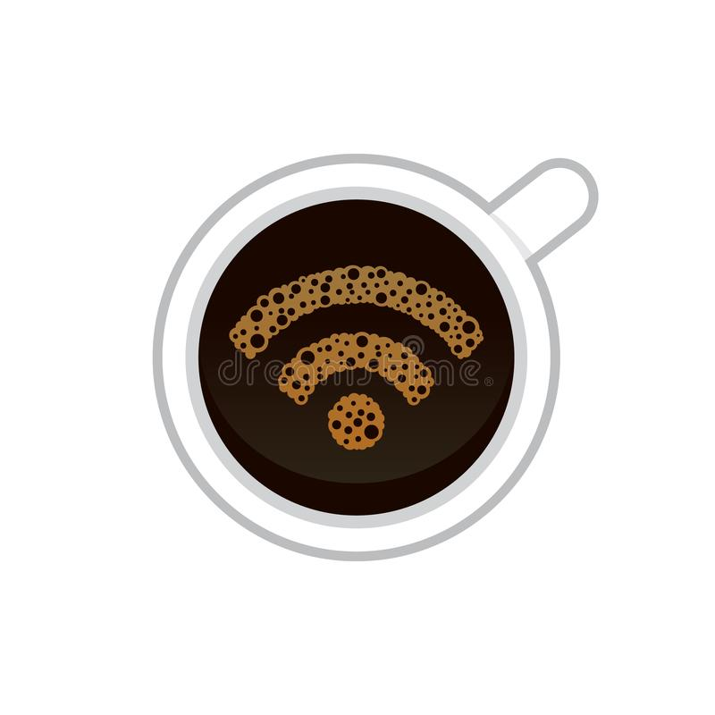 WiFi symbol på ett kaffe stock illustrationer