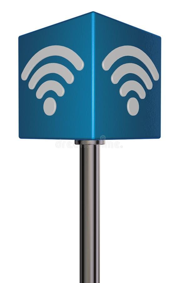Wifi symbol på kuben royaltyfri illustrationer