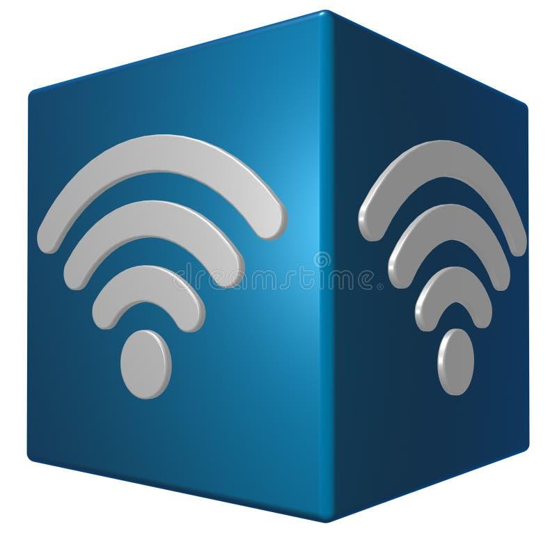 Wifi symbol på kuben vektor illustrationer