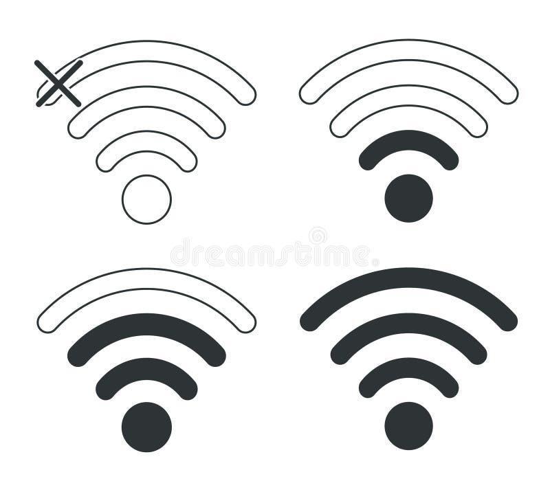 Wifi symboler Nivå för nätverk Wi-Fi Tillträde till nätverket Wi-Fi royaltyfri illustrationer