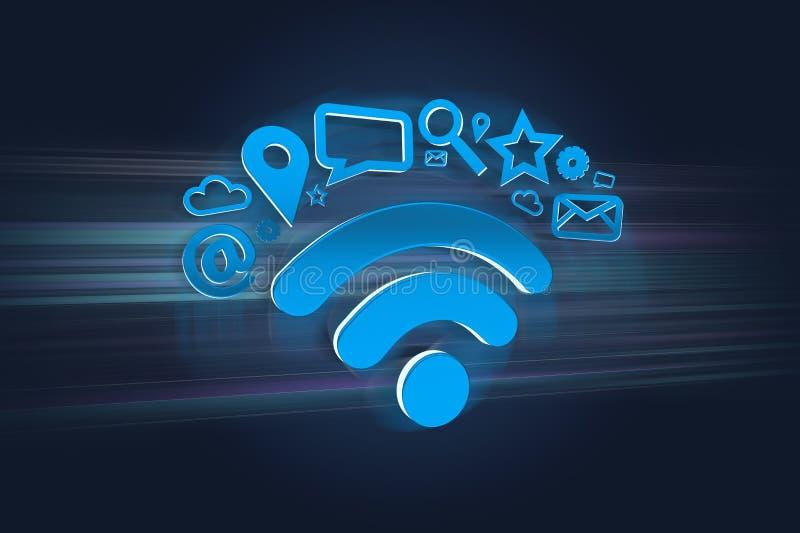 wifi symbolu związek otaczający multimediami app i internetem ilustracji