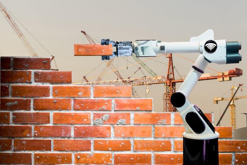 Wifi umano astuto della ripresa esterna della forza della costruzione di edifici del mattone del braccio di industria del robot immagine stock