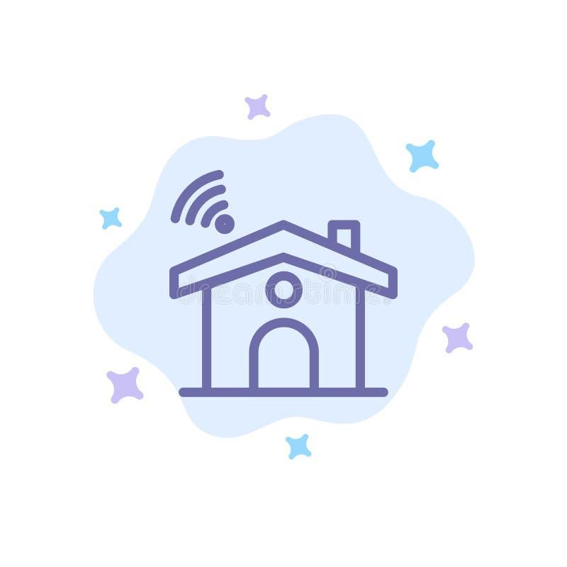 Wifi, usługa, sygnał, Domowa Błękitna ikona na abstrakt chmury tle ilustracji