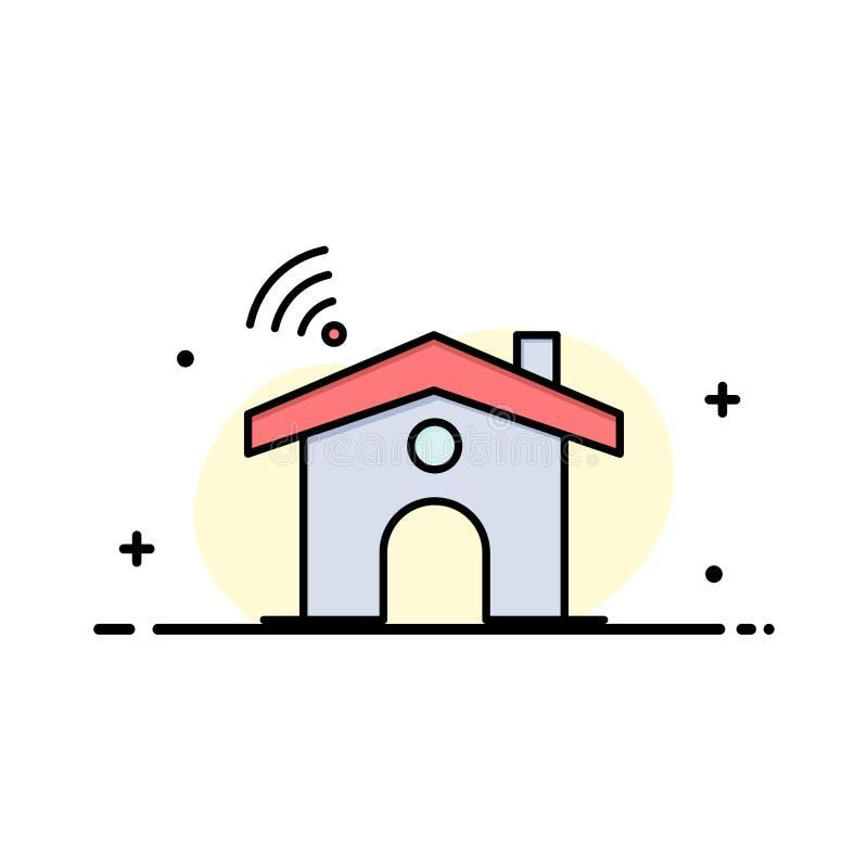 Wifi, usługa, sygnał, Domowa Biznesowa linia Wypełniający mieszkanie ikony sztandaru Wektorowy szablon royalty ilustracja