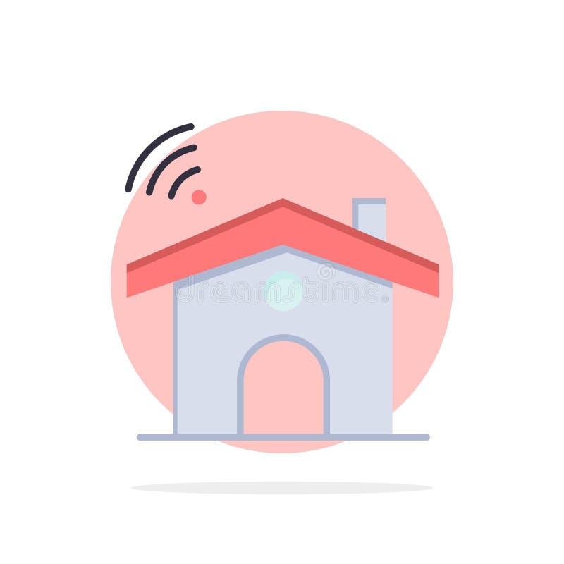 Wifi, usługa, sygnał, Domowego Abstrakcjonistycznego okręgu tła koloru Płaska ikona ilustracji