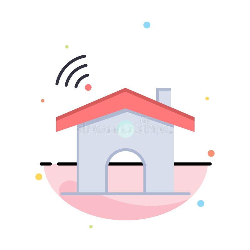 Wifi, usługa, sygnał, Domowy Abstrakcjonistyczny Płaski kolor ikony szablon royalty ilustracja