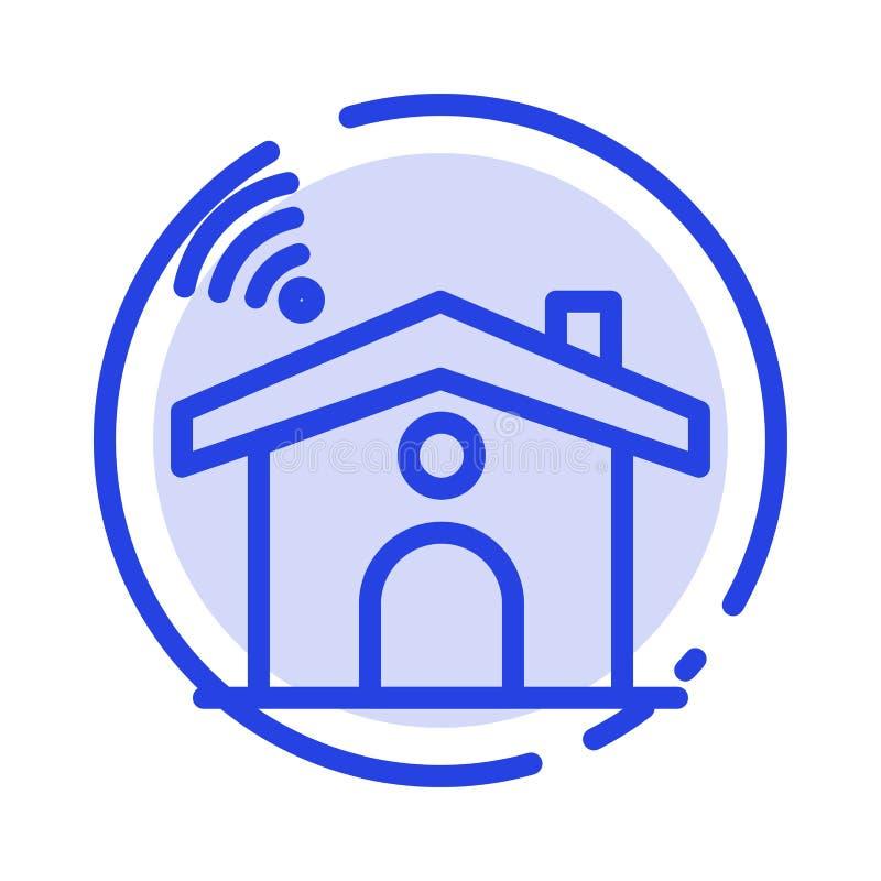 Wifi, usługa, sygnał, Domowy błękit Kropkująca linii linii ikona ilustracja wektor