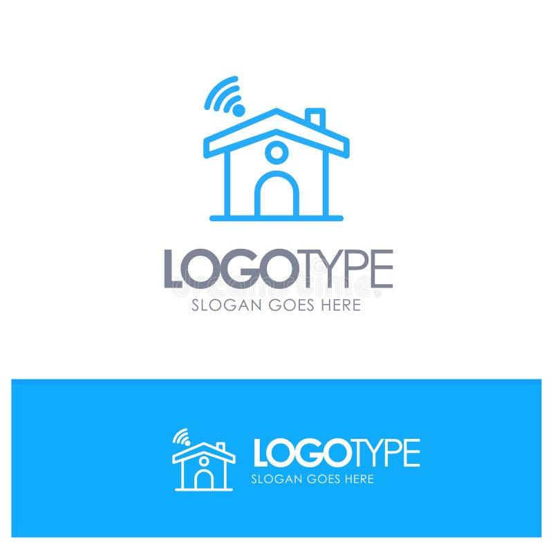 Wifi, usługa, sygnał, Domowy Błękitny konturu logo miejsce dla Tagline ilustracja wektor