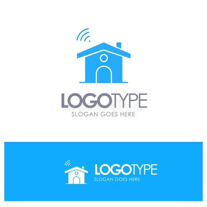 Wifi, usługa, sygnał, Domowy Błękitny Stały logo z miejscem dla tagline royalty ilustracja