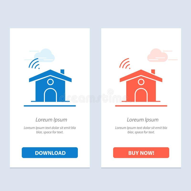 Wifi, usługa, sygnał, Domowy sieci Widget karty szablon, Błękitnej, Czerwonej i Teraz ściągania i zakupu royalty ilustracja