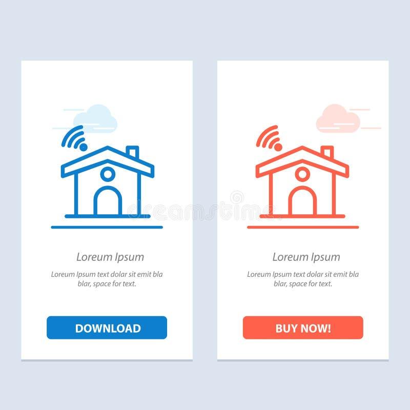 Wifi, usługa, sygnał, Domowy sieci Widget karty szablon, Błękitnej, Czerwonej i Teraz ściągania i zakupu ilustracji