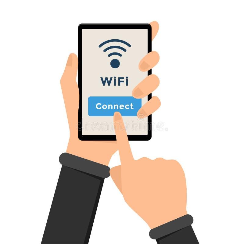 Wifi, wireless internet connection illustration stock illustration