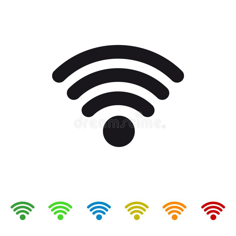 Wifi Wireless Wlan Internet Signal Flat Icon For Apps And Website. Isolated On White Background vector illustration