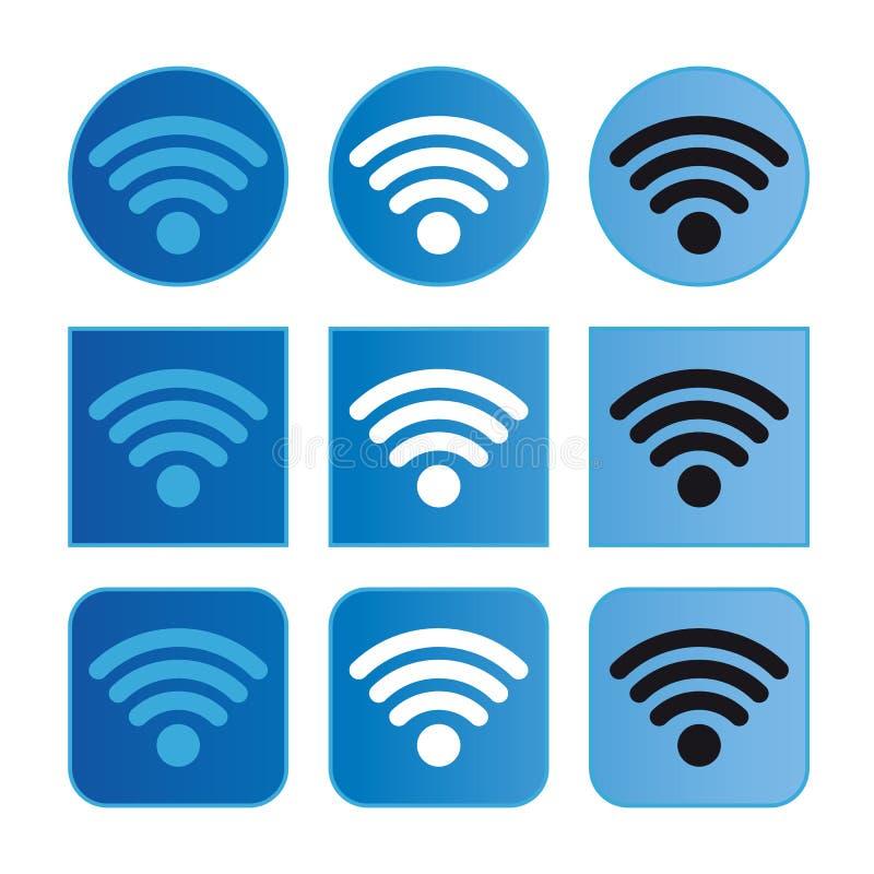 Wifi-Zeichen-Knopf eingestellt - Vektor-Illustration - lokalisiert auf weißem Hintergrund lizenzfreie abbildung