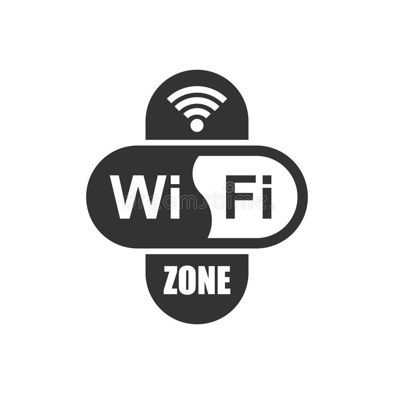Wifi zone internet sign icon in flat style. Wi-fi wireless technology vector illustration on white isolated background. Network w royalty free illustration
