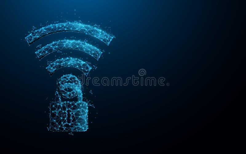 Wifipictogram en hangslot Veiligheidswifi Internet en Particulier netwerk i concept VPN - virtueel particulier netwerk vector illustratie