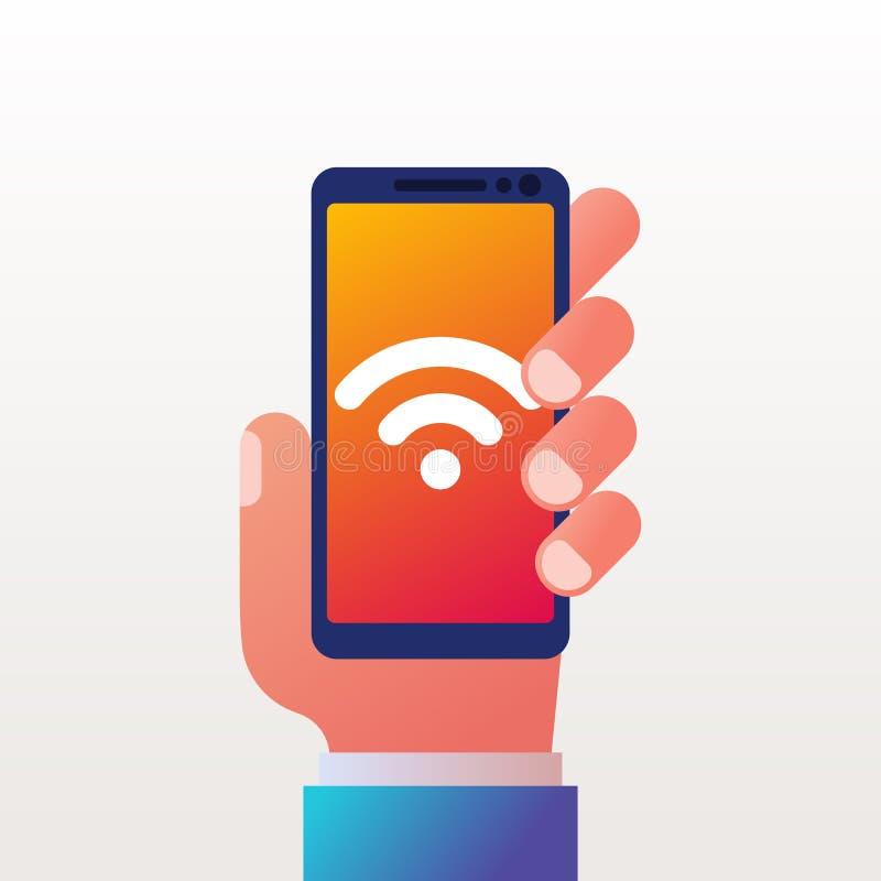 Wifipictogram op telefoon Smartphone ter beschikking vector illustratie