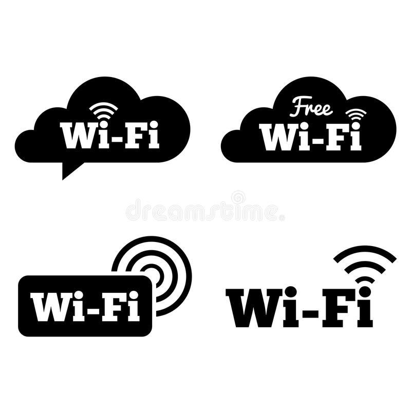 Wifipictogrammen. Wifisymbolen. Draadloze wolkenpictogrammen. stock illustratie