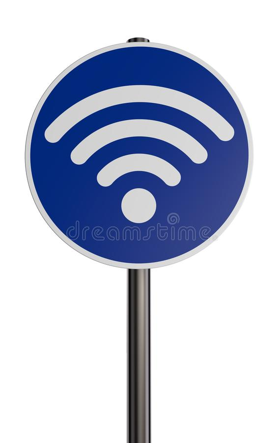 Wifisymbool op roadsign vector illustratie