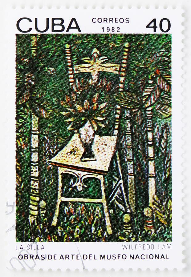 Wifredo Lam, `Chair`, Paintings from the National Museum serie, circa 1982. MOSCOW, RUSSIA - JULY 25, 2019: Postage stamp printed in Cuba shows Wifredo Lam, ` royalty free stock images